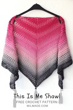 Is Me Shawl - free crochet pattern on , including video tutorial. Made with a Scheepjes Whirl yarn cake.This Is Me Shawl - free crochet pattern on , including video tutorial. Made with a Scheepjes Whirl yarn cake. Poncho Crochet, Crochet Scarf Easy, Crochet Shawls And Wraps, Crochet Motifs, Crochet Scarves, Crochet Clothes, Free Crochet, Crochet Patterns, Crochet Hats