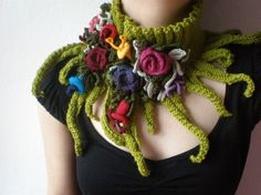 Knitted Neckwarmer / Scarflette - Chartreuse Green - Colorful Flowers