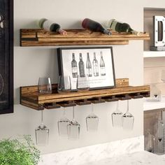 Williston Forge Orla 9 Bottle Wall Mounted Wine Bottle and Glass Rack Hanging Wine Glass Rack, Hanging Racks, Wine Bottle Rack, Bottle Wall, Wine Rack Inspiration, Tabletop, Wine Rack Design, Wood Wine Racks, Rustic Luxe
