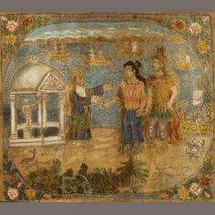 Theofilos Hadjimichail (Greek, Ulysses and Iphigenia in Avlida 78 x 88 cm. Greek Paintings, Contemporary Decorative Art, Greek Art, Art Uk, Naive Art, Art Object, Great Artists, Flower Art, Mythology