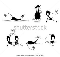 Would be interesting combined with a charity ribbon -Graceful Cats Silhouettes Black For Your Design Stock Vector 65181937 : Shutterstock