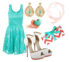 """""""Turquoise and Coral"""" by annabbxoxo ❤ liked on Polyvore featuring ALDO, Tiffany & Co. and Eina Ahluwalia"""