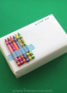 Cute idea if you are presenting a gift to a child but they have to wait to open it.... in the meantime, they can colour it!!