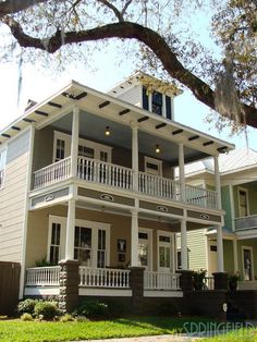 Double front porch and powder blue ceiling to keep the Haints away (a Southern-thing)