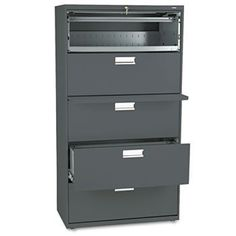 600 Series Five-Drawer Lateral File, 36w x19-1/4d, Charcoal by HON (Catalog Category: Furniture & Accessories / File Cabinets) by Hon. $979.26. 600 Series Five-Drawer Lateral File, 36w x19-1/4d, Charcoal by HONCounterweight included, where applicable, to meet ANSI/BIFMA stability requirements. Lock secures both sides of drawer and heavy-duty, three-part, telescoping, steel ball bearing suspension offers smooth drawer operation. Mechanical interlock allows only on...
