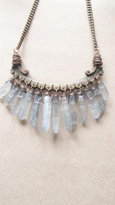 Raw Quartz Bib Necklace Wire Wrap Crystal by daniellerosebean Crystal Jewelry, Crystal Necklace, Wire Jewelry, Boho Jewelry, Jewelry Box, Jewelry Accessories, Fashion Accessories, Jewelry Necklaces, Jewelry Design