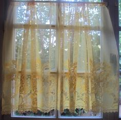 French Cafe Curtain Yellow Sheer Lace Panels by HatchedinFrance