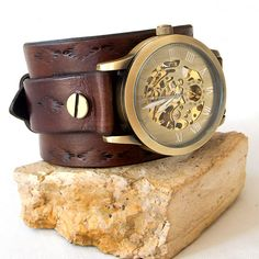 Mens leather watch Leather cuff watch Skeleton wrist by Jullyet