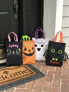 Personalized First Halloween Trick or Treat Bag My 1st Halloween Spider Kids Candy Bag Canvas Tote Bag Trunk or Treat Bag