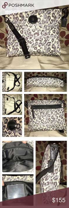 """Coach Leopard Print Ocelot File/Messenger F17988 Coach Signature Ocelot Leopard Print File Bag in Dark Grey/Cream/Light Grey & Patent leather trim! Clean inside & out! If only I had the tag! This bag is water resistant! It's lined in black satin, 1 zip, multiple slip pockets! The exterior has a full zip pocket on the back! Adjustable black strap with dog leash clasp and silver hardware. It measures 11.5 X 10 X 2 strap drop is 13-22"""" research shows $145 same condition🚫no trades price firm🚫…"""