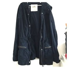 Navy blue utility jacket Worn a couple times but got too small for me. Good condition! Hollister Jackets & Coats Utility Jackets