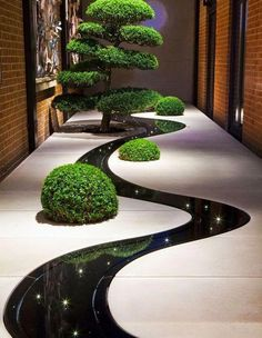 wow love this contemporary garden! stunning reflection of lights and planting in the dark dyed water feature Garden Garden design Garden ideas Garden landscaping Garden lighting Japanese Garden Design, Modern Garden Design, Landscape Design, Landscape Architecture, Architecture Design, Zen House Design, Landscape Stairs, Path Design, Fence Design