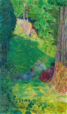 Pierre Bonnard, Trois Personnages au Pied d'un Arbre. #art #artists #bonnard
