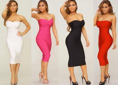Strapless Midi Bandage Dress perfect for any occasion.