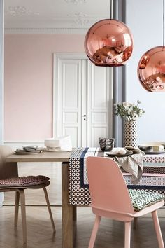 Copper accents & blushing baby pink make for a design match made in heaven.