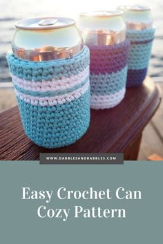 Easy Crochet Can Cozy Pattern – Dabbles & Babbles Easy Crochet Can Cozy Pattern – Dabbles & Babbles,Crochet BEER CAN PATTERN: Easy Crochet Can Pattern; This is a really easy crochet project that you. Crochet Simple, Crochet Cup Cozy, Quick Crochet, Crochet Geek, Crochet Gifts, Free Crochet, Easy Things To Crochet, Free Knitting, Crochet Projects To Sell