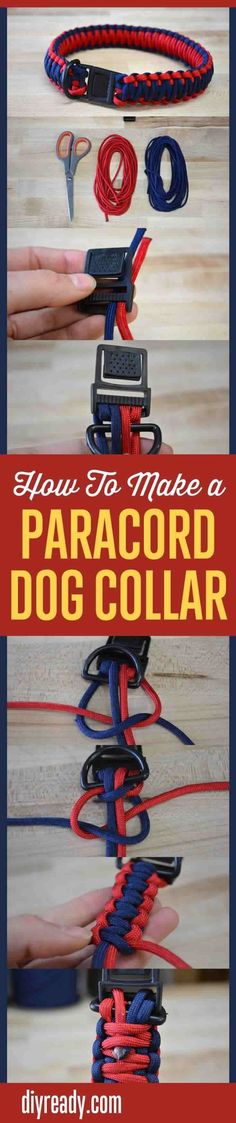 How to personalized your dog collar? What kinds of uses does paracord provide? What types of designs can you make with paracord? Instructions how to make paracord dog collar. Dog Crafts, Animal Crafts, Easy Diy Crafts, Creative Crafts, Crafts To Make, Homemade Crafts, Fun Diy, Diy Dog Stuff, Diy Dog Collar