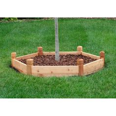 Hexagon Raised Garden Bed  Our price: $339.95  ***FREE SHIPPING***    This hexagon-shaped raised bed makes an interesting shaped garden or shrub bed, and is ideal as a tree-surround. It is made of solid, rot-resistant Western Red Cedar. Includes a free quart of organic soil conditioner.