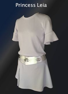 MAY THE FORCE BE WITH YOU!    The incredible look of this tunic top is the crisp white medium weight fabric with wide bell sleeves. The A-line skirt