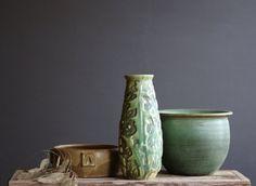 Weller Marvo Vase, Art Pottery, Green Glaze, Nature's Flora, Dandelion and Fern Leaf Design, Spring Decor, Arts & Crafts Era 1920's