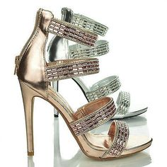 Perton83 Rhinestone Studded High Heel Dress Sandal