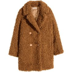 H&M Pile coat ($120) ❤ liked on Polyvore featuring outerwear, coats, jackets, coats & jackets, camel, h&m, double breasted coat, h&m coats, brown coat and camel coat