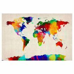 Gallery-wrapped canvas giclee print showcasing a sponge painting-inspired world map motif. Made in the USA.   Product: Wall artConstruction Material: Wood and canvasFeatures:  Gallery-wrappedReproduction based on work by Michael TompsettMade in the USA
