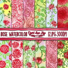 Roses digital paper, Rose Watercolor, Seamless Patterns- 12pcs 300dpi (paper crafts, card making, scrapbooking) Commercial use by DigitalMagicShop on Etsy