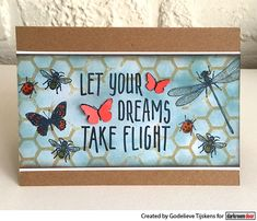 Card by Godelieve Tijskens using Darkroom Door Take Flight Small Stamp, Honeycomb Background Stamp and Wings Stamp Set Great Friends, Honeycomb, Hand Stamped, Dreaming Of You, Wings, Let It Be, Create, Birthday, Projects