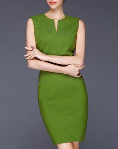 #AdoreWe #VIPme Sheath Dresses - GYALWANA Summer Green Color Sleeveless Sheath Dress - AdoreWe.com