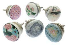 Mélange Ensemble de 6 x Vintage Floral Partterns avec Français Horloge Poignées De Placard en chic osé Style Céramique (MG-601) - « vintage-chic » TM Produit