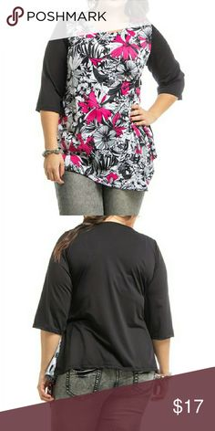 🆕 Araza 3X Plus Size ❤3/4 sleeves Multi Color Back and sleeves are black.  Floral front.  Fuchsia grey white and black.... Wrinkle resistance. 95% polyester, 5% spandex.   Bust 49 inches. Araza Tops Tunics