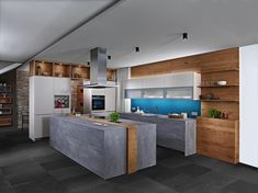 Dunkle Küchen mit Beton-Oberfläche sind ein echter Trend in der Küchenplanung. Besonders in Kombination mit warmen Holzakzenten oder weißen Küchenoberflächen präsentiert sich der Betonlook stylish, pflegeleicht und gemütlich. Jetzt alles zum neuen Küchentrend nachlesen und den ewe Küchenkatalog bestellen! Küchen Design, House Design, Interior Design, German Kitchen, Most Beautiful Pictures, Contemporary, Table, Furniture, Modern Kitchens
