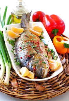 Дорада под устричным соусом и Булгур с креветками и овощами. - В гостях у Фиалки!