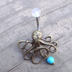 Hey, I found this really awesome Etsy listing at https://www.etsy.com/listing/157815148/bronze-octopus-belly-button-jewelry-ring