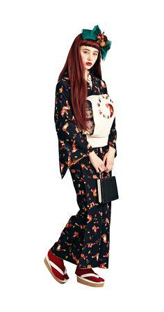 2016 kimono collection by Furifu. Traditional Japanese Kimono, Traditional Fashion, Traditional Outfits, Japanese Outfits, Japanese Fashion, Asian Fashion, Kimono Outfit, Kimono Fashion, Fashion Outfits