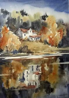 40 Examples of Watercolor Paintings Art Aquarelle, Watercolor Water, Watercolor Artists, Watercolor Landscape, Abstract Watercolor, Watercolour Painting, Landscape Art, Painting & Drawing, Landscape Paintings