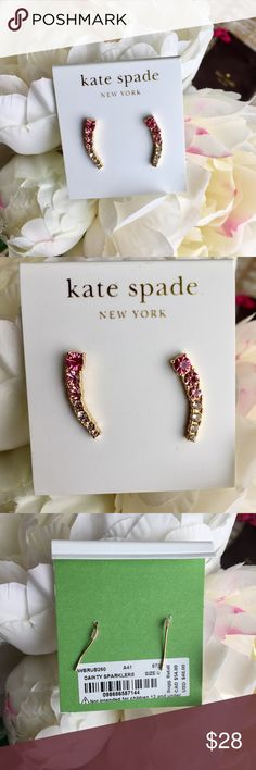 Kate Spade Pink Ombré Earrings ♠️ Kate Spade pink ombré ear climber earrings. Brand new with tags! 14k gold plated metal with glass stones. Very cute and unique ♠️ kate spade Jewelry Earrings