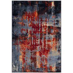 Safavieh Porcello Modern Abstract Blue/ Orange Area Rug (8' x 10') (PRL8891D-8), Size 8' x 10'