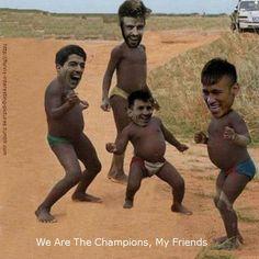 World sport soccer memes. Fc Barcelona We are the champions, my friends. Lionel Messi, Luis Suarez , Neymar, Gerard Pique Dance. #memes