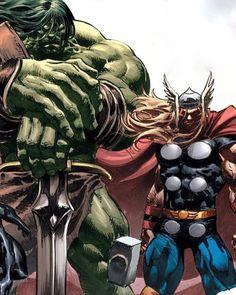Hulk and Thor - Comic Book Artwork 👊°° Comic Book Characters, Comic Book Heroes, Marvel Characters, Comic Books Art, Comic Art, Marvel Comics Superheroes, Hulk Marvel, Marvel Heroes, Superman Hulk