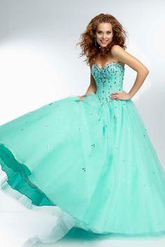 2014 Sweetheart Dress Beaded Sheer Bodice Ball Gown Full Length Pick Up Tulle Skirt USD 186.99 BPP6C2E48D - BrandPromDresses.com