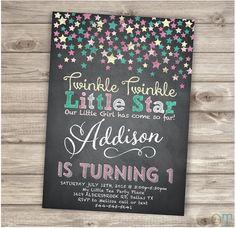 Chalkboard Twinkle Twinkle Little Star Confetti Birthday Invitations Pink Gold Aqua teal Chalk board girl First Birthday Digital Printable