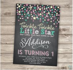 Chalkboard Twinkle Twinkle Little Star Confetti Birthday Invitations Pink Gold Aqua teal Chalk board girl First Birthday Digital Printable