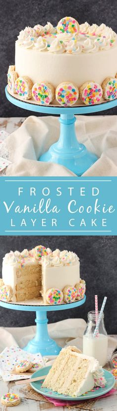 Frosted Vanilla Cookie Layer Cake - cake layers are flavored with Frosted Vanilla Cookie creamer, then filled with a sugar cookie filling! Delicious!