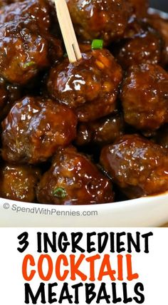 Easy 3 Ingredient Cocktail Meatballs! These delicious appetizer meatballs can be made 3 different ways and cooked on the stove top or in the slow cooker. Ketchup and Grape Jelly makes the best ever sauce!