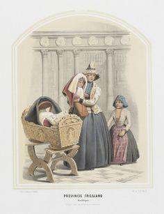 Hindeloopen (Friesland)  De klederdracht van de vrouwen van Hindeloopen is zeer kleurrijk door het gebruik van Indiase stoffen. Bijzonder is ook de hoofdtooi die bestaat uit een sondook (een gesteven doek) die bij een gehuwde vrouw rond een cilindervormig hoedje werd gevouwen. Uit de 'bijbel' van de plattelandskleding uit het midden van de 19e eeuw: Nederlandsche kleederdragten, van Valentijn Bing (1812-1895) en Jan Braet von Überfeldt (1807-1894).