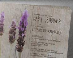 Lavender Rustic Floral Flower Baby Shower Invitation