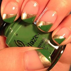Happy st. Patrick's day!  @essienailpolish_official sugar daddy, good as gold, and @chinaglazeofficial starboard. - @nailedtothej- #webstagram
