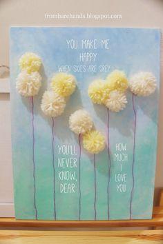 DIY Yarn Pom-Pom Art - UGH! Adorable!